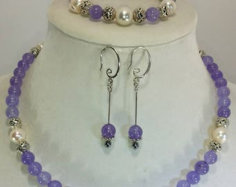 Alexandrite and pearl necklace set, purple aledandrite pearl necklace, purple alexandrite, alexandrite, pearl necklace, hand knotted
