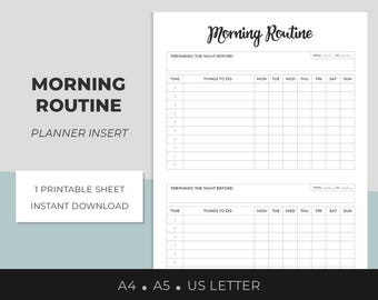 Morning Routine, Planner Insert, Morning Habits Printable, Daily Rituals, Weekly Routine Log,  A4, A5, US Letter, Success Habits, Daily Log