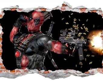 Deadpool smashed wall decal wall sticker