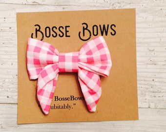 Easter hair bow, Fabric hair bow, Pink Hair bow,  Easter headband, Spring hair bow, Girls checkered bow, pink girls bow, sailors bow, bow