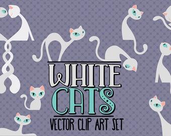 White cats/Elegant cats/Clip art set/Cat illustration/Design elements/Printable illustration
