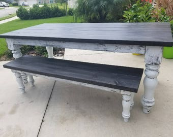 JUDAH Farmhouse Table and Bench Set!