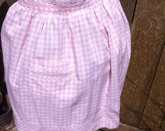 Vintage Handmade Pink Gingham Half Apron Pink Cross Stitch & White Rickrack Details