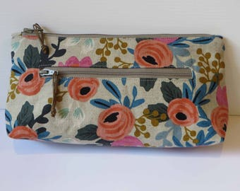 Floral flat base twin zip purse