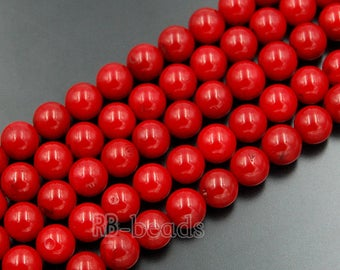 Red Coral Beads, Red Beads, Gemstone Beads, Round Natural Beads, Jasper Beads, Full Strand,  4mm 6mm 8mm 10mm 12mm