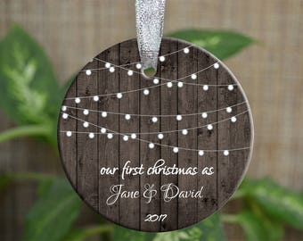 Personalized Christmas Ornament, Our First Christmas ornaments, Custom Ornament, Ornament Bride gift, Wedding gift, Christmas gift. o010-1