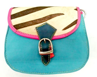 Francesca: Upcycled High Quality Hand-made Leather Colourful Shoulder Bag with Animal Print