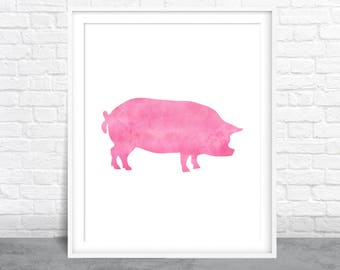 Pig Art, Farmhouse Art, Pink Pig, Watercolor Animal