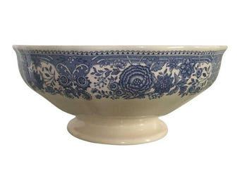 "Vintage Pre-1920's Villeroy & Boch ""Burgenland"" Blue and White Serving Bowl"
