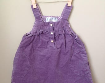 Vtg Baby Zara Brand Jumper Pinafore Dress - Purple Corduroy with Star Buttons