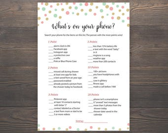 Coral, Mint Green, Gold, Pink Baby Shower Games, Whats on your Phone, Printable Baby Shower, Cell Phone Game, Whats in your Phone, S024