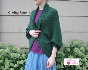 Olivia Shrug Knitting Pattern, Shawl Collar Wrap, Cocoon Sweater, Cardigan, Twig Bobble Cable Panel, Worsted Yarn, Cozy Cuddly Wrap