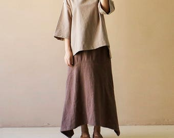 Loose and comfortable cotton and linen long sleeve T-shirt for short dress