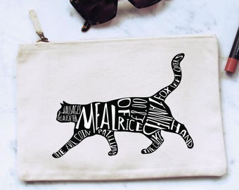 Canvas pouch bag inspired by Bob Mortimer's Twitter cat names, cat silhouette, Athletico Mince