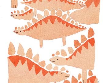 Red dinosaurs. Original Watercolor