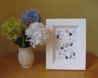 Sea glass, sea glass art,shell mosaic, 5x7 frame, pottery, shells, aqua glass, beach glass, cottage decor, nautical, maine sea glass