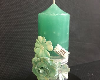 Turquoise and gray colored  scented with Heather and Summer Night