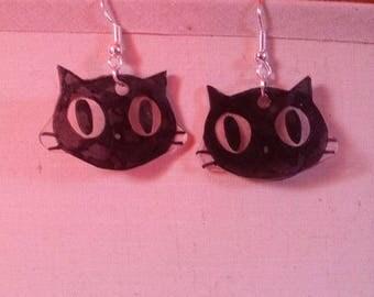 Plastic cat earrings
