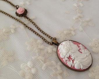 Reversible Pink Lady cameo necklace.