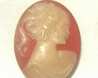 Vintage Peach Lady Profile Cameo Brooch Pin E