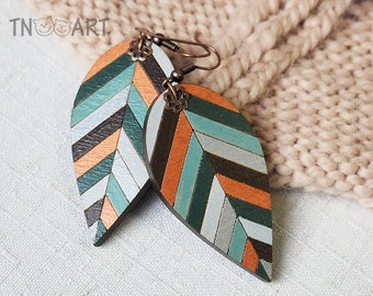 Wooden Leaves Earrings/ handmade jewelry wood earrings set hand painted leaf ethnic style nature natural colors mint brown silver copper