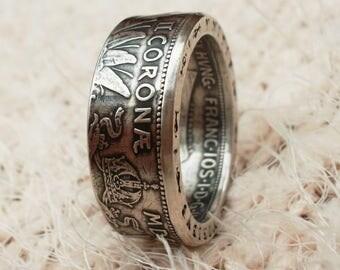 Austro-Hungarian 2 crowns 1912 Silver 2 Corona Coin ring - Austrian coin ring - silver coin ring