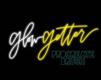 Glow Getter | Custom Neon Monoline Brush for Procreate | iPad Pro | Apple Pencil | Instant Download