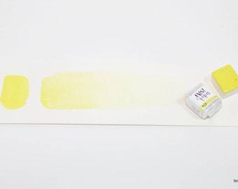 Handmade Watercolor Paint Half Pan  Lemon Yellow Vibrant Cool Yellow Artisinal Watercolor