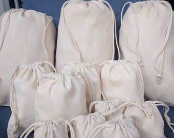 8 x 10 Cotton Canvas Double Drawstring Muslin Bag. Premium Quality. Great Quality Fabric. Natural Color