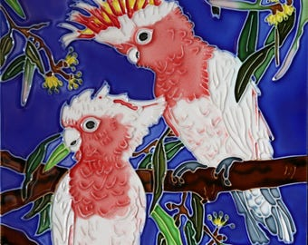 Handmade decorative ceramic tile parrot