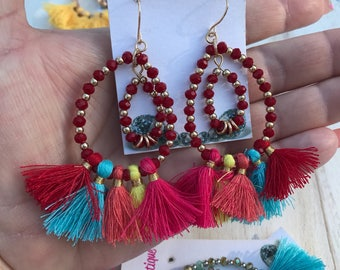 Multi color Tassle and Crystal Earrings pierced  3 Inch Length
