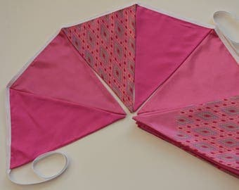 Pink Sari bunting -bright banner, summer garland, party, diwali, weddings, birthdays and festivals. Long length and large pennants.