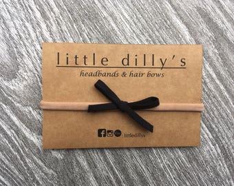 BLACK HAIR BOW || newborn baby headband, little girl hair bow, hair accessories, nylon band, ponytail, pig tail, hair clip