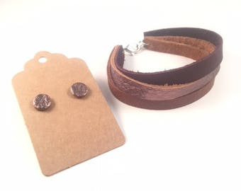 Leather Wrap Bracelet and Stud Earring Jewelry Set, Leather Bracelet and Earring Set, Leather Jewelry Set, Jewelry Set, Women's Jewelry