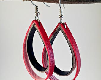Red and Black Hoop Earrings for Women, Red and Black Dangling Earrings for Women, Boho Dangle Earrings, Boho Earrings for Women
