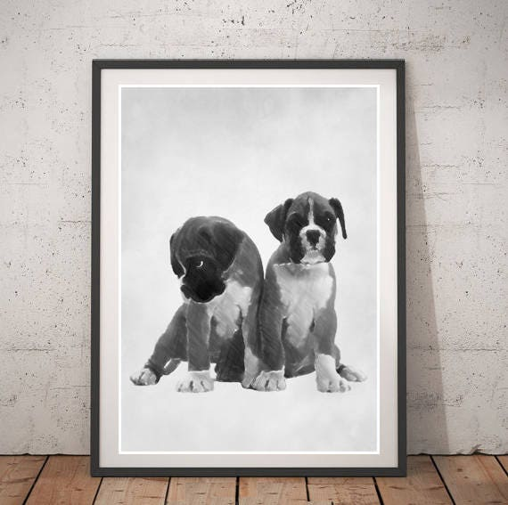 Boxer puppies drawing black and white dog poster wall art animals home decor printable instant download dog pencil illustration kids