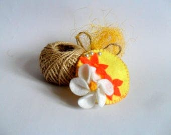Yelow floral brooche, Handmade brooche, Yelow brooche, Floral jewerly, Brooche with flowers, Soft brooche, Boho jewerly, Floral, Brooche,