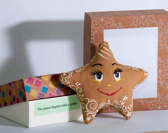 Coffee toy-Stuffed Star Toys -Handmade Toy-Miniature Toy-Gift-Christmas decoration-Ethnic ornament-Kids toys-Сotton,holofiber-Hand painting