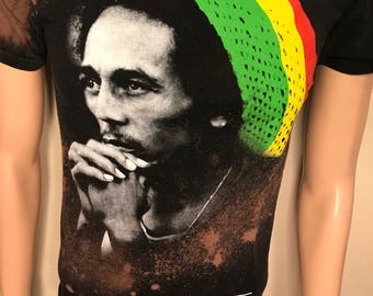Vintage Bob Marley tshirt // faded distressed // acid bleach washed // festival party tee // rad hiphop hippie shirt //