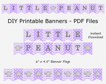 Little Peanut Banner - Light Purple & Grey - Elephant Baby Shower - Birthday Party - PRINTABLE - INSTANT DOWNLOAD