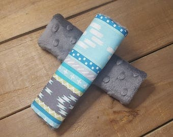 Grey/Blue Reversible Car Seat Strap Covers - Baby Items