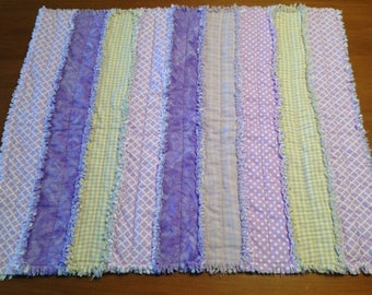 Handmade Purple & Yellow SnuggleBuggCo Original Baby Rag Quilt