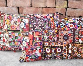 2 pcs set of decorative banjara cushion cover / pillow covers / sham / pompom cushion covers