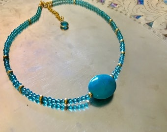 Turquoise nugget and faceted Swarovski crystal beads necklace in 14kt gold filled necklace