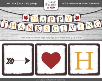 Happy Thanksgiving Printable Banner,Bunting Banner,Square Fall Colors DIY Banner,Square Fall Leaves Garland,DIY Printable Fall Decorations