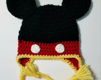 Crochet Mickey Mouse Inspired Hat Beanie | Infant to Child
