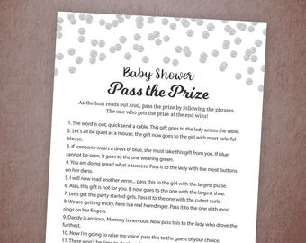 Pass the Prize Game, Baby Shower Game Printable, Silver Confetti, Fun Baby Shower Activities, Instant Download, Pass the Parcel Gift, B016