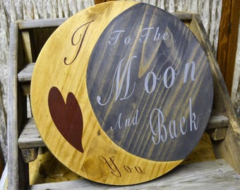 I Love You To the Moon and Back Large Round Wooden Wall Hanging
