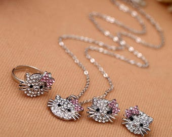 Clear & Pink  Rhinestone Hello Kitty Necklace, ring, and earrings set