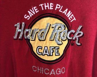 Vintage Hard Rock Cafe Chicago Red Sweatshirt XL Save The Planet 90s Crewneck